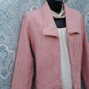 CHICO'S ROSE SILK EMBROIDERED JACKET *528